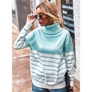 Kameakay Sky Blue Striped Sweater